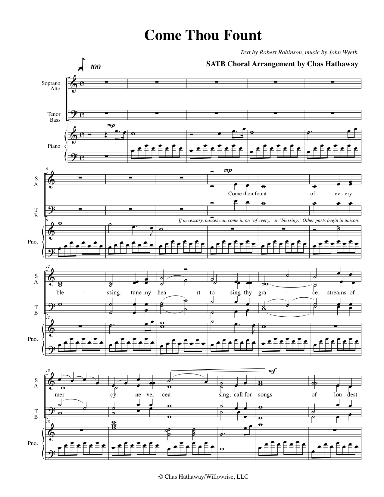 Come Thou Fount Sheet Music by Chas Hathaway