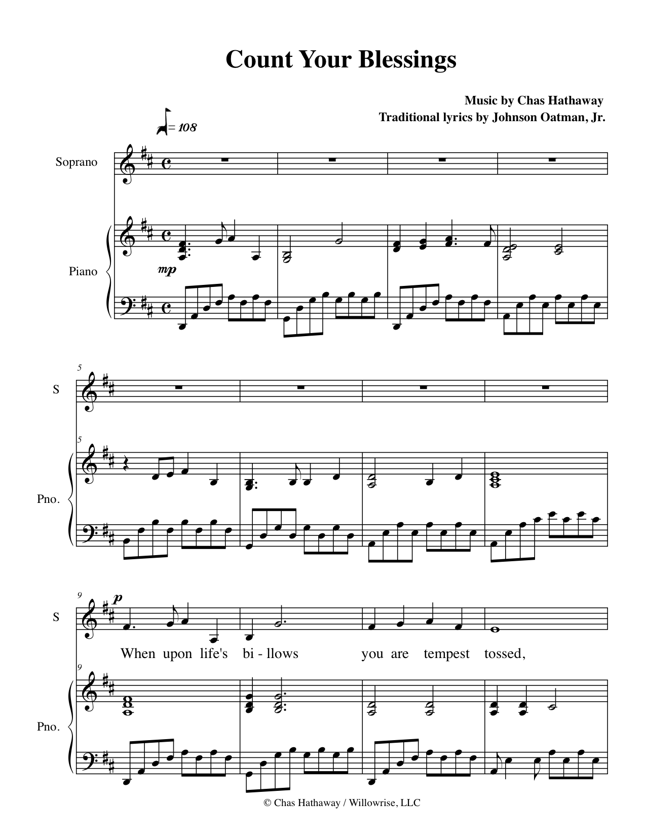 Count Your Blessings Sheet Music by Chas Hathaway