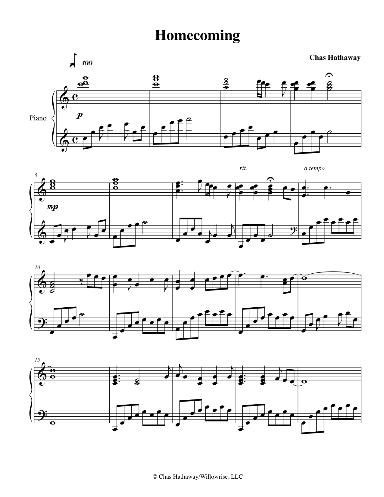 Homecoming Sheet Music by Chas Hathaway